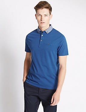 Big and Tall Tailored Fit Printed Collar Polo Shirt