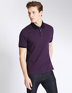 Slim Fit Textured Polo Shirt