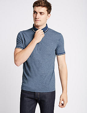 Cotton Blend Textured Polo Shirt