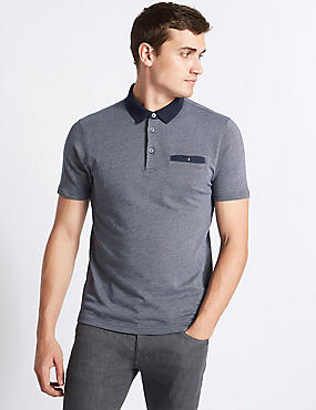 Slim Fit Pure Cotton Textured Polo Shirt, NAVY MIX, catlanding