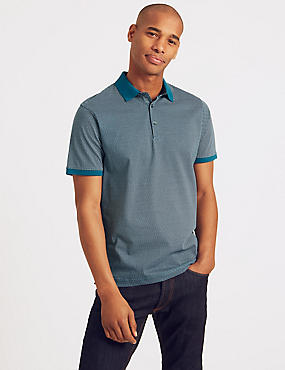 Slim Fit Pure Cotton Spotted Polo Shirt, DARK TURQUOISE, catlanding
