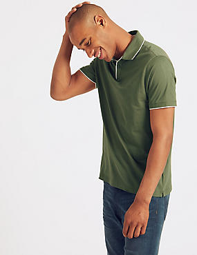 Slim Fit Pure Cotton Polo Shirt, KHAKI, catlanding