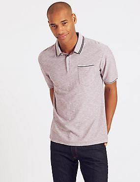 Pure Cotton Textured Polo Shirt, PINK MIX, catlanding