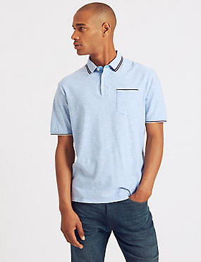 Pure Cotton Textured Polo Shirt, BLUE MIX, catlanding