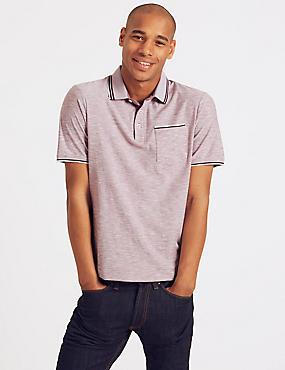 Slim Fit Pure Cotton Striped Polo Shirt, PINK MIX, catlanding