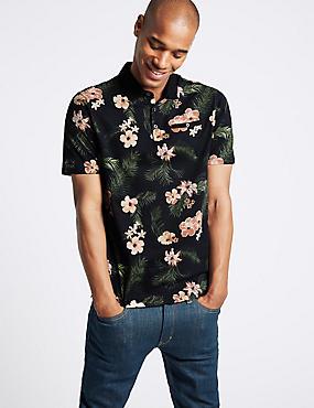 Slim Fit Pure Cotton Floral Design Polo Shirt, MULTI, catlanding