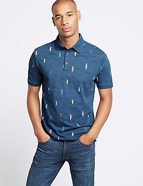Slim Fit Pure Cotton Surfboard Design Polo Shirt, MULTI, catlanding