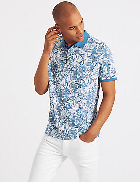 Slim Fit Pure Cotton Printed Polo Shirt