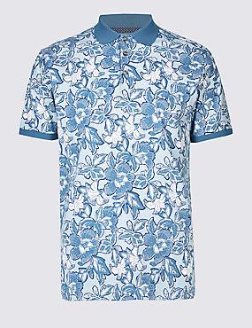 Slim Fit Pure Cotton Printed Polo Shirt, AQUA, catlanding