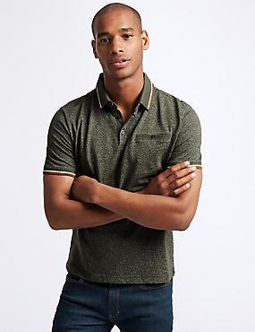 Slim Fit Cotton Rich Textured Polo shirt, KHAKI MIX, catlanding