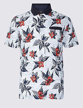 Slim Fit Pure Cotton Printed Polo Shirt, ECRU MIX, catlanding