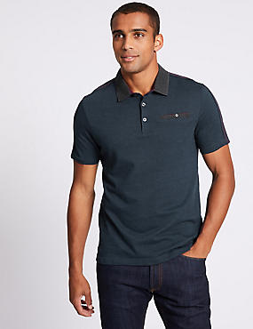 Slim Fit Pure Cotton Textured Polo Shirt, NAVY MIX, catlanding