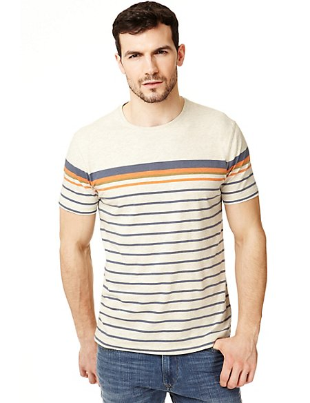 XXXL Pure Cotton Striped T-Shirt