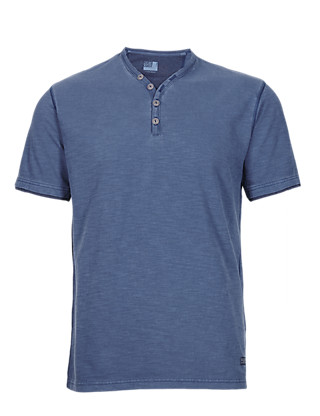 Pure Cotton Y-Neck T-Shirt Clothing