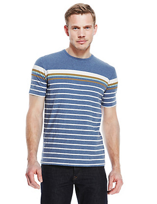 Tailored Fit Pure Cotton Striped T-Shirt Clothing