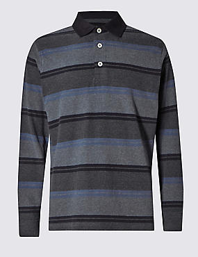 Pure Cotton Slim Fit Soft Striped Rugby Top