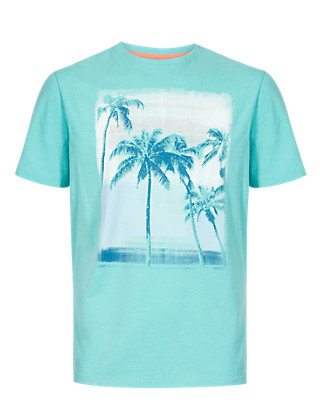 Tailored Fit Palm Print T-Shirt Clothing