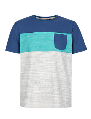Pure Cotton Colour Block T-Shirt Clothing