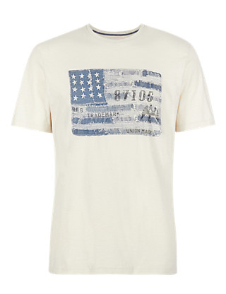 Pure Cotton American Flag T-Shirt Clothing