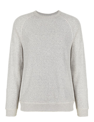 Pure Cotton Raglan Sleeve Textured Sweat Top Clothing