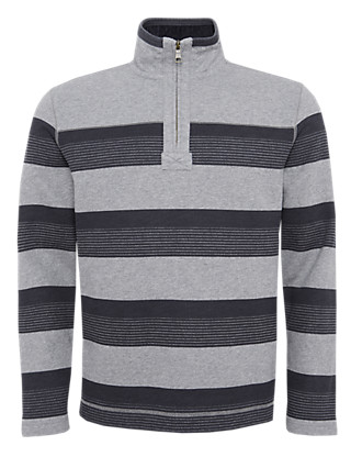 Cotton Rich Half Zip Top Clothing
