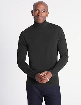 Cotton Rich Roll Neck Top