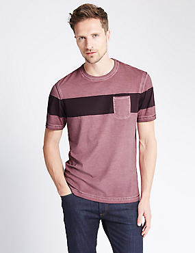 Chest Striped Cold Dye T-Shirt