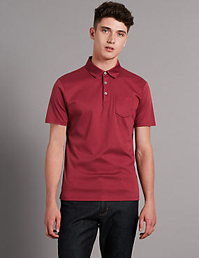 Supima® Cotton Bonded Pocket Tailored Fit Polo Shirt