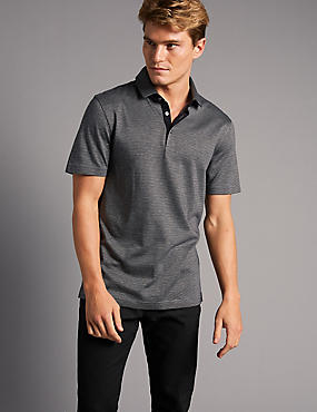 Slim Fit Supima® Cotton Textured Polo Shirt, GREY, catlanding