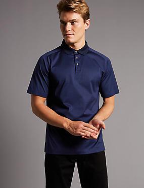 Slim Fit Supima® Cotton Textured Polo Shirt, MEDIUM NAVY, catlanding