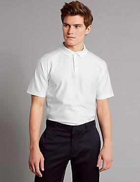 Supima® Cotton Textured Polo Shirt, WHITE, catlanding