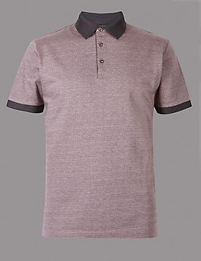 Pure Cotton Textured Polo Shirt