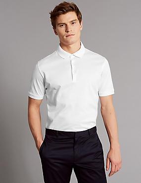 Slim Fit Pure Cotton Textured Polo Shirt, WHITE, catlanding