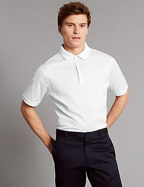 Pure Cotton Textured Polo Shirt, WHITE, catlanding