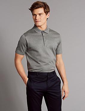 Slim Fit Pure Cotton Textured Polo Shirt, GREY MIX, catlanding