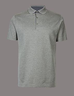 Slim Fit Pure Cotton Textured Polo Shirt, GREY MIX, catlanding