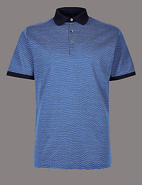 Slim Fit Pure Cotton Textured Polo Shirt, BLUE MIX, catlanding