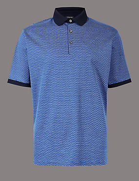 Pure Cotton Textured Polo Shirt, BLUE MIX, catlanding