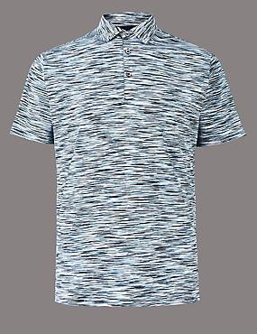 Slim Fit Pure Cotton Textured Polo Shirt, BLUE MIX, catlanding