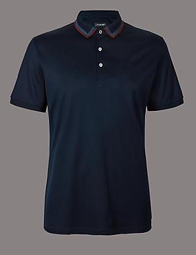 Slim Fit Supima® Cotton Polo Shirt, NAVY, catlanding