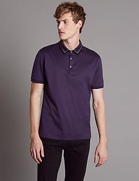 Pure Cotton Polo Shirt, RICH PURPLE, catlanding