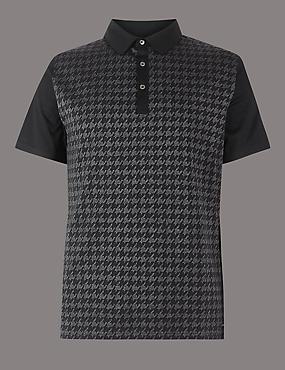 Supima® Cotton Textured Polo Shirt, CHARCOAL MIX, catlanding