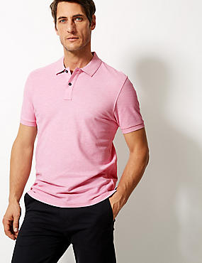 Pure Cotton Polo Shirt, DUSTY PINK, catlanding