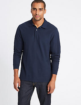 Pure Cotton Long Sleeve Polo Shirt, NAVY, catlanding