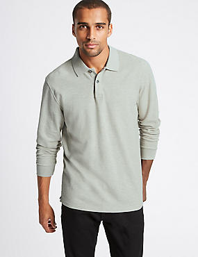 Pure Cotton Long Sleeve Polo Shirt, STONE MIX, catlanding