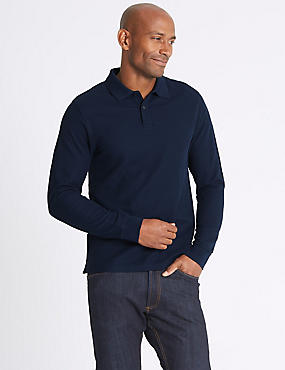 Slim Fit Pure Cotton Long Sleeve Polo Shirt