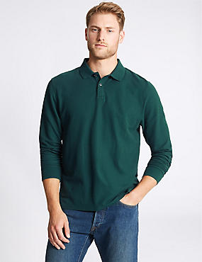 Pure Cotton Long Sleeve Polo Shirt