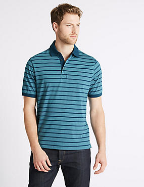 Pure Cotton Striped Polo Shirt, SLATE BLUE, catlanding