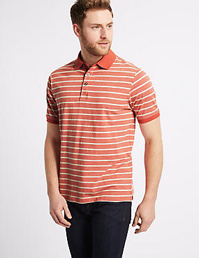 Pure Cotton Striped Polo Shirt, CORAL, catlanding