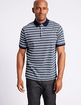 Pure Cotton Striped Polo Shirt, NAVY, catlanding